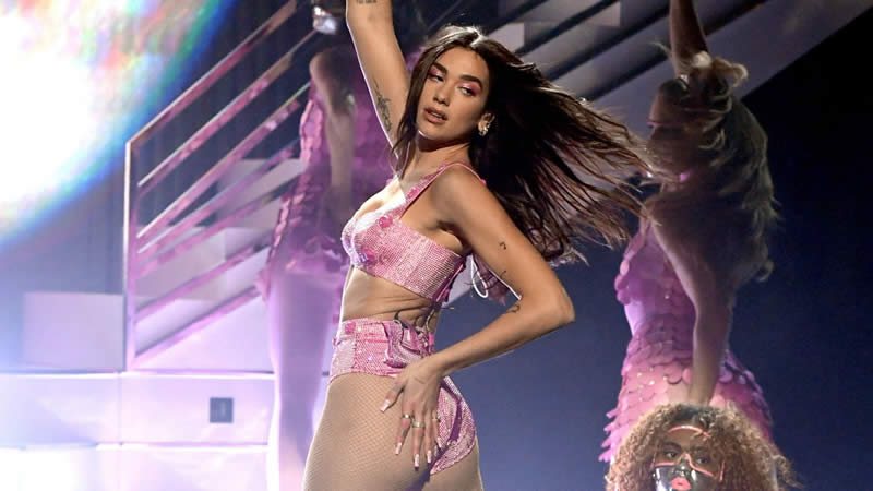 Dua Lipa Hit the Grammys Red Carpet in a Very Naked, Cher-Inspired Dress